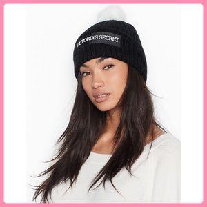 New Victoria's Secret Logo Pom-Pom Hat/ Beanie